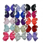 Yiho 15pcs Two layer Solid Baby Girls Clip Hair Bows Large Set Of 15 Colour