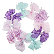Yiho 10pcs Two layer Baby Girls Clip Lace 30cm Hair Bows Hair Accessories