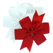 My Lello Large 13cm Girls Pinwheel Boutique Grosgrain Hair-Bow Pair-White/Red
