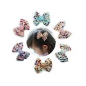 6 Pcs Boutique Girls 8.9cm Bling Colourful Rhinestones Bows National Grosgrain Ribbon Pinwheel Girls Kids Children Hair Bow Clips Girls Hair Clips