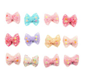 12 Pcs Boutique Girls 7.6cm Bling Pearl SunFlower Bows Grosgrain Ribbon Pinwheel Girls Kids Children Hair Bow Clips Girls Hair Clips