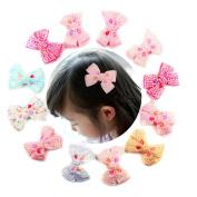 12 Pcs Boutique Girls 8.9cm Bling Pearl Bows Grosgrain Ribbon Pinwheel Girls Kids Children Hair Bow Clips Girls Hair Clips