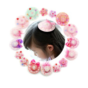 16 pcs Fascinators Dancing Party Bling Pearl Flower Baby Girl Headwear Headband Round and Star Hats Hair Clip