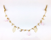yueton Pink Crystal Pendant Hollow Out Leaves Gold Chain Alligator Clips Barrettes Bobby Pin Hair Clips Bride Headwear Edge Clip Clamps Headbands