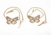 yueton 2pcs Fashion Ladies Rhinestone Gold Butterfly Chain Alligator Clips Barrettes Bobby Pin Hair Clips Bride Headwear Edge Clip Clamps Headbands