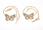 yueton 2pcs Fashion Ladies Rhinestone Gold Butterfly Chain Alligator Clips Barrettes Bobby Pin Hair Clips Bride Headwear Edge Clip Clamps Headbands