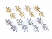 yueton 8pcs Gold and Silver Leaves Alligator Clip Barrettes Bobby Pin Hair Clips Bride Headwear Edge Clip Clamps