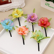 CellElection 2016 Newly Design 3D Simulation Real Flower Hairpins Bohemia Hairpins One Different Kind of Hair Clips Packed with 6