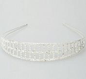 New Girl Double-Row Oblong Shape Rhinestone Diamond Hair Crown Headband Silver by Ozone48
