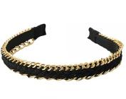 Fashionable Golden Chain Black Bottom Girl Hair Band Headband Golden & Black by Ozone48