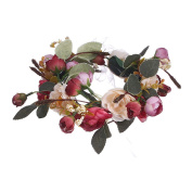 AWAYTR Bohemia Camellia Flower leafy Fairy Halo Floral Crown Hair Wreath Wedding Headpiece