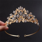 FUMUD Gold Leaves Vintage Headpiece Rhinestone Tiara Crown Handmade Wedding Evening Party Prom Hairband