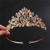 FUMUD Gold Leaves Vintage Headpiece Rhinestone Tiara Crown Handmade Wedding Evening Party Prom Hairband