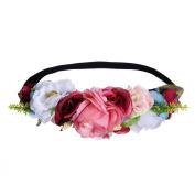 AWAYTR New Wedding Flower Wreath Crown Headband Hairband Floral Garlands Elastic Hair Band