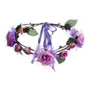 AWAYTR Handmade Aestheticism Wedding Party Ribbon Headbands Women Flower Hair Garlands Wreath Crown