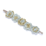 Girls Metallic Crochet Flower Headband - Gold/ Moss - Small Child / Big Child