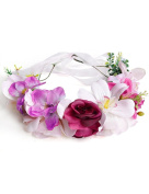 Ajetex 1pcs Pink Adjustable Flowers Crown Wreath Garland Headband Floral Party Wedding Festivals