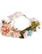 Ajetex 1pcs Colourful Adjustable Flowers Crown Wreath Garland Headband Floral Party Wedding Festivals