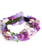 Ajetex 1pcs Purple Adjustable Flowers Crown Wreath Garland Headband Floral Party Wedding Festivals