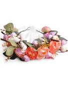Ajetex 1pcs Pink+Orange Adjustable Flowers Crown Wreath Garland Headband Floral Party Wedding Festivals