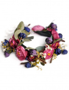 Ajetex 1pcs Red+Purple Adjustable Flowers Crown Wreath Garland Headband Floral Party Wedding Festivals