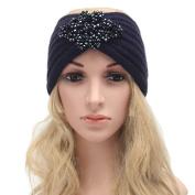 Ladies Jewel Accessory Winter Warm Turban Soft Knit Headband Beanie Crochet Headwrap