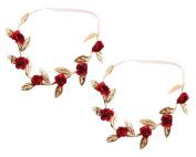yueton 2pcs Rose Leaf Headband Hair Band for Children
