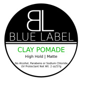 BLUE LABEL CLAY Pomade * Premium Men's Best Hair Styling Product Beeswax * High Hold & Matte Finish