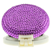 TASIRO Pure Handmade 2-in-1 Bling Bling Folding Makeup Mirror with Massaging Hair Brush-Purple