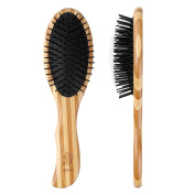 Gisala Detangling Scalp Massage Hair Comb Wooden Bristle Cushioned Hair Brush for Adults & Kids