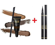 TER Masterpiece 3D Eyebrow Tattoo Waterproof, Medium Brown + TER I'm Matte Waterproof Pen Liquid Eyeliner, Black