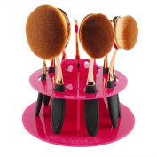 Kingfansion 10 Hole Oval Makeup Brush Holder Drying Rack Organiser Cosmetic Shelf Tool