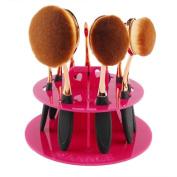 Kingfansion 10 Hole Oval Makeup Brush Holder Drying Rack Organiser Cosmetic Shelf Tool