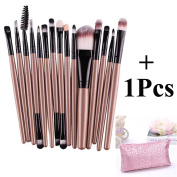 15 pcs/Sets Pro Makeup Set Powder Foundation Eyeshadow Eyeliner Lip Cosmetic Brushes (Black+Gold) + 1Pcs Free Makeup Bag