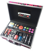 BR Professional Carry All Trunk Train Case Reusable Case Makeup Gift Set with Makeup