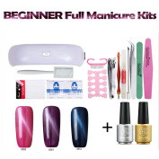 Sexy Mix Shellac Gel Nail Polish Starter Kit,3D Cat Eye Effect Magnetic Gel Polish Soak Off UV LED Nail Dryer 3 Colours