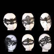 BTArtbox 6 Pcs Women Party Black Lase Sexy Eye Masquerade Costume Bar Lace Soft Eye Mask,Hallowenn Cosplay Gift Set ,Bat,Big fox, Owl,Peacock,Queen,Cyclopia,ect