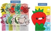 BUNDLE - TONYMOLY I'm REAL Mask Sheet Pack (11 sheets) + TONYMOLY Seedless Strawberry Seeds 3-Step Nose Pack