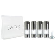 Airless Frosted Silver Pump Bottle Refillable Travel Container - 15ml (4 Pack) + Travel Bag and Funnel
