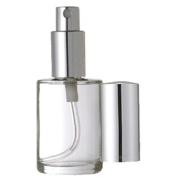 Grand Parfums Silver Fine Mist Sprayer 1 Oz Perfume Fine Mist Atomizer, Round Cylinder Glass Bottle, 30ml