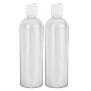 Moyo Natural Labs 16 oz Easy Squeeze HDPE Bottles Commercial Grade with White Disc Cap BPA Free Bottle Set Made in USA 473ml 16 OZ White Translucent Pack of 2