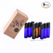 【6 Cobalt Blue + 3 Amber Bottles Set】 Fiery Youth 10ml Glass Roller Bottles with Stainless Steel Roller Metal Balls, Glass Roll on Bottle for Essential Oils