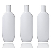Grand Parfums White Empire HDPE Plastic Lotion Bottles, 240ml Shampoo, Conditioner, Body Cream, Body Wash, Private Label Cosmetic Containers with Whtie Dispensing Disc Caps Set of 6