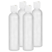 Moyo Natural Labs 8 Ounce Easy Squeeze HDPE Bottles Commercial Grade with White Disc Cap (4 pack) BPA Free Bottle Set Made in USA 236ml 8 OZ White Translucent Pack of Four
