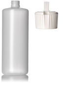 950ml Natural HDPE Plastic Round Bottle with White Flip Nozzle [Pack of 3]