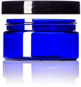 240ml Cobalt Blue Single Wall PET Plastic Jars with Black Twist Lids