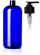 950ml Cobalt Blue Plastic Boston Round Bottle with Black Hand Pump