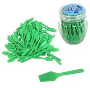 Beauticom® Pana Brand (Apple Green Colour) (100pcs in a Container) Cosmetic Make Up Disposable Plastic 6.4cm Spatulas Skin Care Facial Cream Mask Spatula