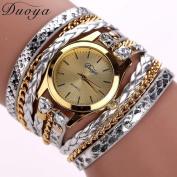 Binmer(TM) Women Leather Band Wrap Around Analogue Quartz Bracelet Wrist Watch Wristwatch