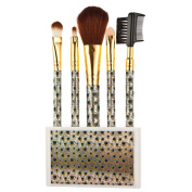 Brushes Set, Misaky 5pcs Peacock Markings Cosmetic Makeup Brush Kit With Holder